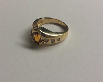 14K Yellow Gold Ring With Yellow Citrine and Diamonds