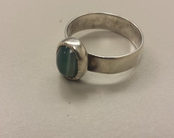 Sterling Silver .925 Ring With Agate Cabochon