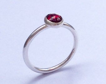 Garnet Stacking Ring. Sterling Silver Ring. Red Gemstone Ring. January Birthstone Ring.