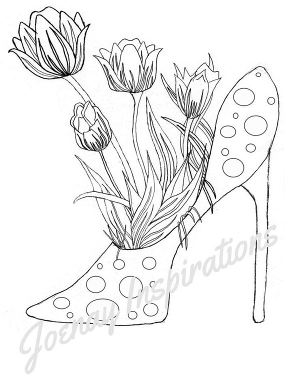 Adult Coloring Book, Printable Coloring Pages, Coloring Pages, Coloring Book for Adults, Instant Download, Fancy Flowers 3 page 5