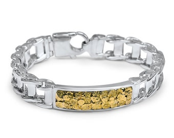 2452- Gold Nugget ID Sterling Silver braclet-Promotion 10% Off
