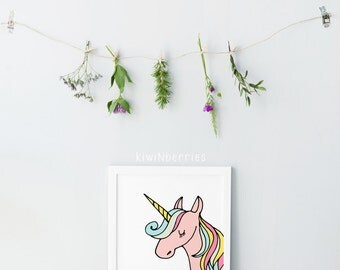Unicorn print - Printable gift for baby girls - Girls room decor - Nursery quotes - Unicorn posters - Have a magical life print
