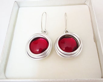 Red Dangle Earrings, Red Jewelry, Red Earrings, Red Stone Jewelry, Holiday Earrings, Holiday Jewelry, Unique Red, Statement Silver Earring