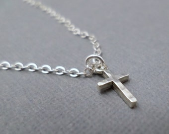 """Silver Cross Necklace, Tiny.  Free Shipping.  Sterling Silver Pendant ~ Hammered Silver Cross ~ Simple Minimal ~ Dainty Delicate ~ 3/8"""""""