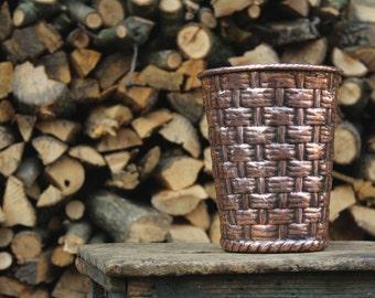 Handmade copper pot basket vase
