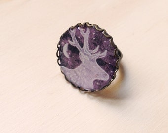 Ring purple background with Deer