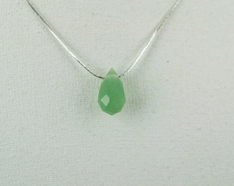 Beautiful Faceted  Aventurine Pendant with Silver Necklace