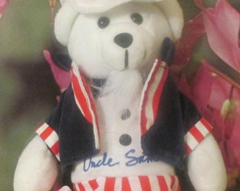 "USPS ""Uncle Sam""   Stamp Bear  Plush Toy With 37 Cent Stamp Hat--11""  Tall--Collectible"