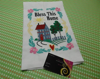 Handmade Machine Embroidery Southern home Dish Towel