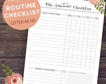 Daily Routine Chart: Morning Routine Checklist A5/A4/Letter Size, Printable Planner Pages, Weekly, Chore, Day, Night time, Bedtime, Regular