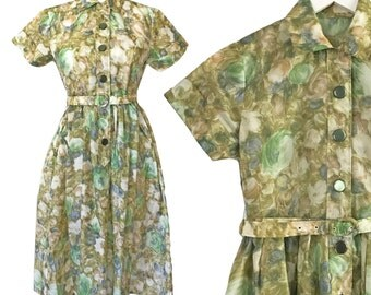 Vintage Retro 50s Sheer Green Floral Shirt Dress