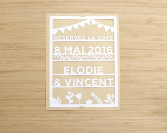 Save the date – save the date - wedding - elegant - rustic - cut paper