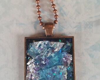 Iridescent Necklace, 3D Resin Pendant