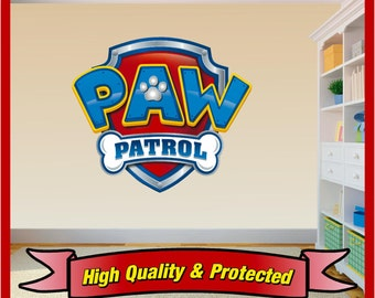 Paw Patrol Shield Badge Wall Art Sticker Decal Childrens Bedroom Boys and Girls