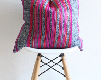 """18"""" x 18""""  Hmong Pink and Orange with Zig Zag Pillow Case"""