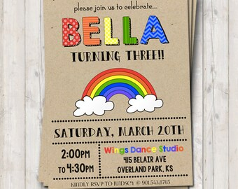 Rainbow birthday invitation - personalized for your party - digital / printable DIY girls birthday invite