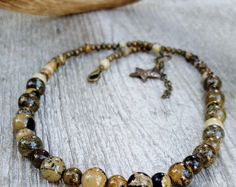 Artistic Jasper Gemstone Beaded Necklace, Western Necklace