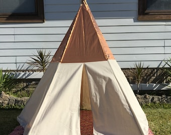 Handmade natural teepee with bronze top