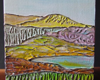 Landscape 'Yellow Hill' acrylic painting, contemporary art