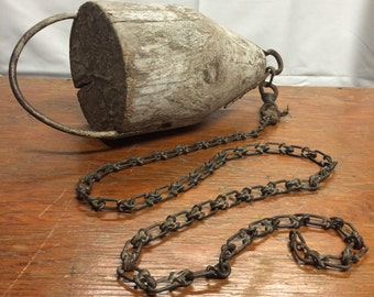 Vintage Wooden Lobster Buoy on Chain