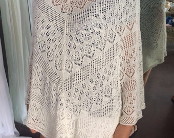 Light soft 100% cotton poncho, ivory, women's, daywear, casual, knit, lacey, spring