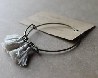 Cotton Tassels Wire BRACELET -- minimal -- off white -- bangle -- delicate