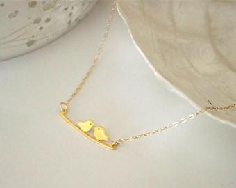 Bird 24 K gold vermeil bar necklace, minimal necklace, delicate two lovebirds necklace, gold kissing love birds necklace