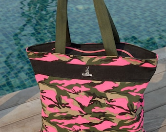 Camouflage Pink Beach Bag with Pillow