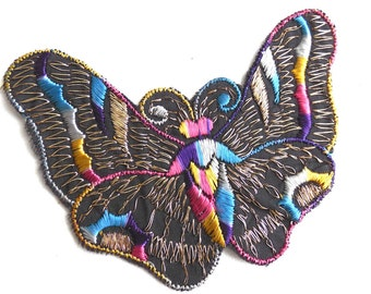 Butterfly applique, 1930s vintage embroidered applique. Vintage patch, sewing supply. Applique, Crazy quilt. #641G86K16