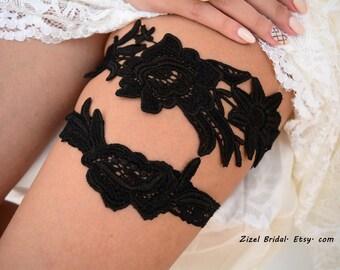 Black Wedding Garter, Garter Set, Lace Garter Set, Lingerie & Garters, Wedding Garters, Bridal Garter, Black Lace Garter, Handmade Garter