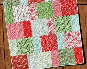 Aqua Christmas Quilt, JOY Quilt, Snowflake Quilt, Red Green White Handmade Joy Blanket, Lap quilt, child quilt, Handmade Christmas Quilt
