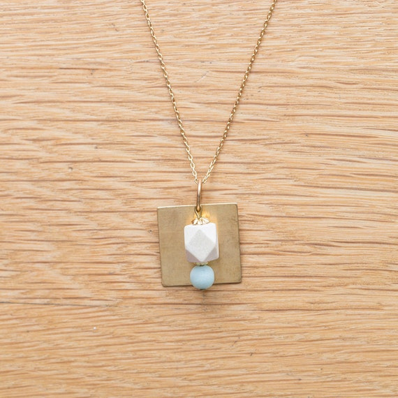 Essential Oil Diffuser Necklace // Wood & Round Amazonite with Brass Pendant