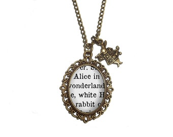 Alice in Wonderland Necklace, Book Page Necklace, Lewis Carroll Quote, Book Necklace, White Rabbit Pendant, Alice Necklace Jewelry