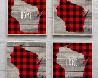 Wisconsin Coasters, Wisconsin Home, Wisconsin Coaster, Plaid Wisconsin, Rustic Wisconsin Coasters, Wisconsin, Wisconsin Decor, Plaid Coaster