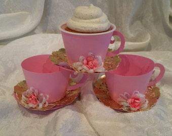 Cupcake Holder Teacup, Teacup Party Favor.