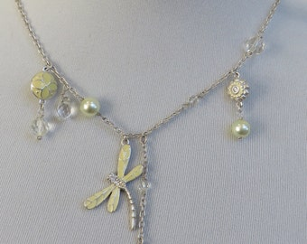 Vintage 925 Sterling Silver Enamelled Dragonfly and Butterfly Charm Necklace