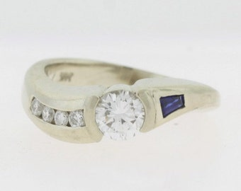Antique 0.56 ct Diamond Sapphire Ring, 14k White Gold Diamond Engagement Ring, Diamond Jewelry