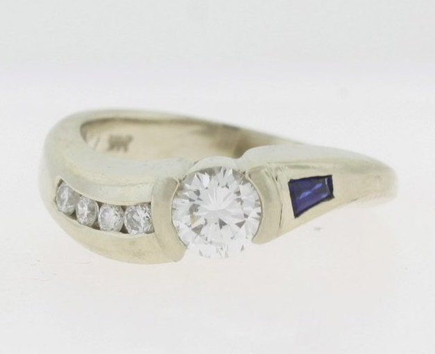 antique 0 56 ct sapphire ring 14k white gold