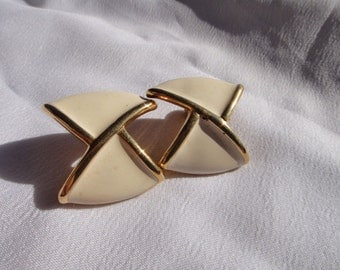 Monet white enamel and gold tone bow clip on earrings vintage jewelry