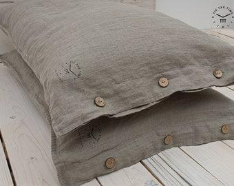 LINEN PILLOWCASE - Natural Flax - Linen Pillow Cover - Linen Button Pillow Case - Natural Pillow Case - Linen Wedding Gift