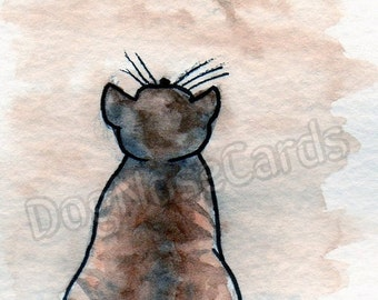 Birthday Card - Hand Painted Original Greetings Card 'Cats' series