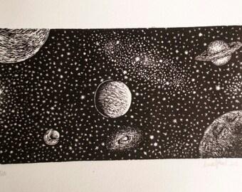 Space Woodcut Print