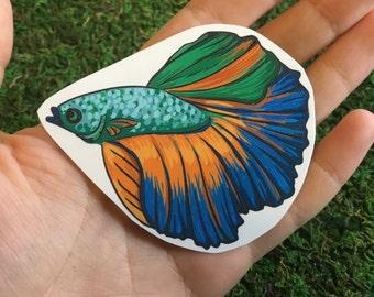 Betta Fish Temporary Tattoo, Colorful Blue Green Orange Fish Tattoo, Male Betta Fish, Nature Tattoo