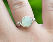 Chinese Jade Ring 925 - Wire Wrapped Ring- Sterling Silver - Attract Love, Money and Protection - Heart Chakra - May Birthstone