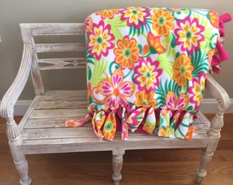 Colorful Floral Print No-Sew Fleece Blanket