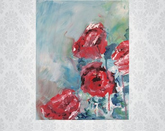"""Original acrylic painting on canvas """"Rosas Selvagens"""""""