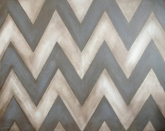 Custom Grey/Creme Chevron Herringbone Wall Art Canvas