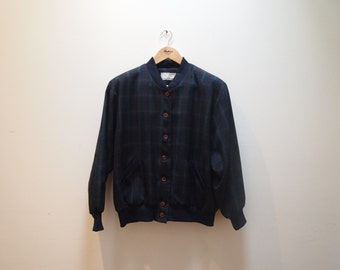 Bomber Jacket 90s Green/Navy Plaid Tartan