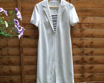 Vintage 60s White and Blue Sailor Dress - UK 10 EU 38 US 6
