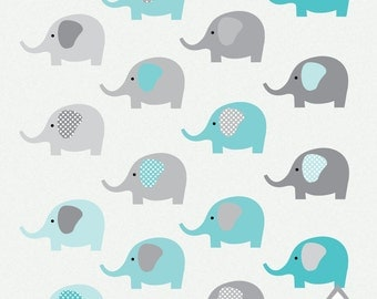 Teal Elephant Clipart, Gray and Teal Elephants, Elephant PNG, Small Commercial Use OK, PNG Clipart, digital, scrapbooking elements, instant
